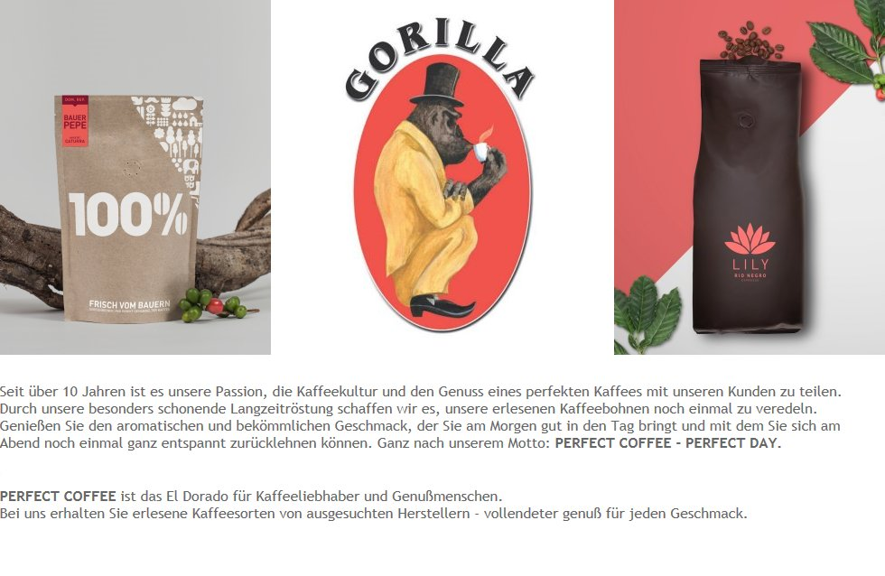 Perfect Coffee Trading, 100 Prozent, Gorilla, Liliy